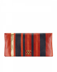 Chanel Red/Navy/Gold Striped Calfskin Greek Clutches Clutch Bag