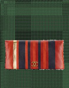 Chanel Red/Navy/Gold Striped Calfskin Greek Clutches Clutch Bag