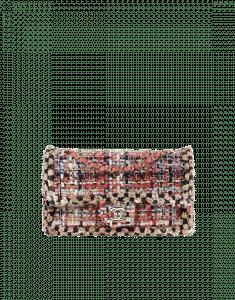 Chanel Terracotta/Ecru/Black/Blue Tweed/Braid Classic Flap Medium Bag