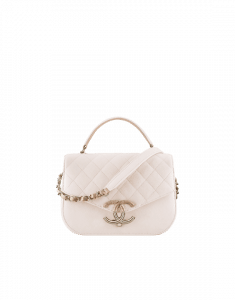 Chanel White Grained Calfskin Flap with Top Handle Bag