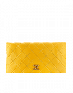 Chanel Yellow Quilted Calfskin Greek Clutches Clutch Bag