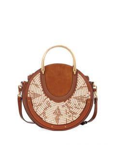 Chloe Brown Woven Medium Pixie Bag