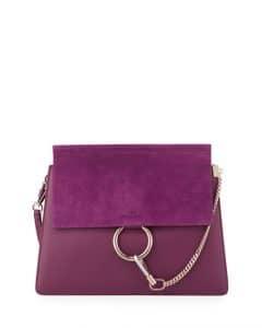 Chloe Dark Purple Medium Faye Shoulder Bag