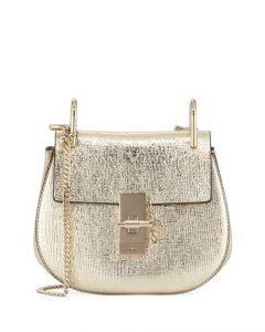 Chloe Gold Metallic Mini Drew Bag