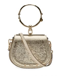 Chloe Gold Metallic Small Nile Bracelet Bag
