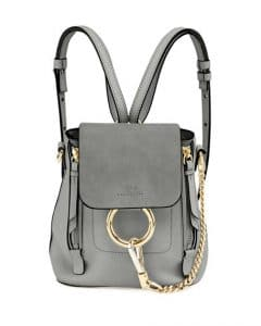 Chloe Light Gray Leather/Suede Mini Faye Backpack Bag