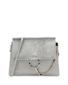Chloe Light Gray Medium Faye Shoulder Bag