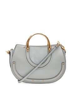 Chloe Light Gray Medium Pixie Tote Bag