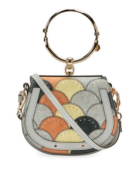 83a76cfe7af4 Chloe Light Gray Studded Stitched Small Nile Bracelet Bag