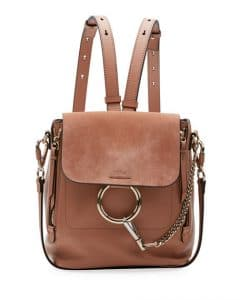 Chloe Taupe Leather/Suede Small Faye Backpack Bag