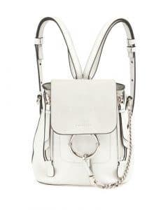 Chloe White Leather/Suede Mini Faye Backpack Bag