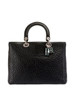 Dior Black Canyon Grained Lambskin Large Lady Dior Bag