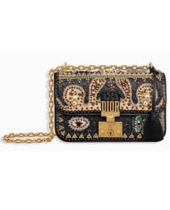 Dior Black Embroidered Dioraddict Small Flap Bag