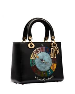 Dior Black Wheel of Fortune Handpainted Lady Dior Bag