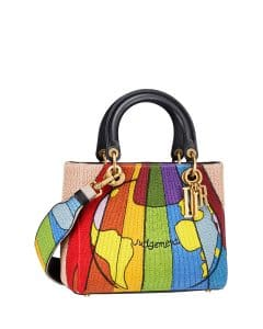 Dior Multicolor Judgement Embroidered Lady Dior Bag