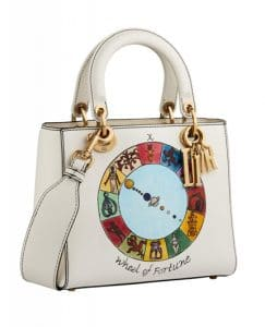 Dior Off-White Wheel of Fortune Handpainted Lady Dior Bag