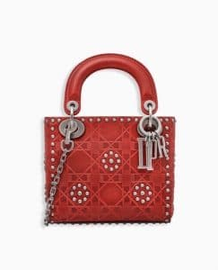 Dior Red Studded Mini Lady Dior ag
