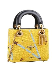 Dior Yellow Swords Embroidered Lady Dior Bag