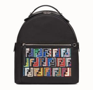 Fendi Black FF Pattern Fabric:Leather Backpack Bag