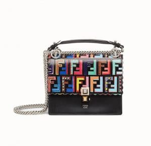 Fendi Black FF Pattern Kan I Small Bag