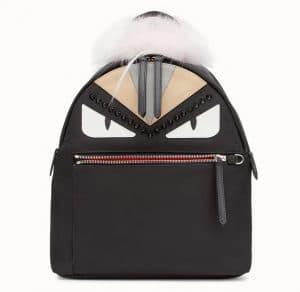 Fendi Black Fabric/Leather Bag Bugs Backpack Bag