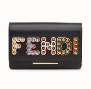 Fendi Black Fun Fair Wallet On Chain Bag