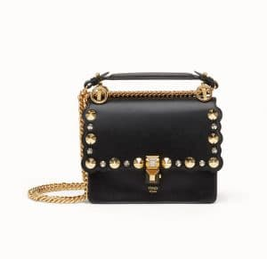 Fendi Black Scalloped and Studded Kan I Small Bag