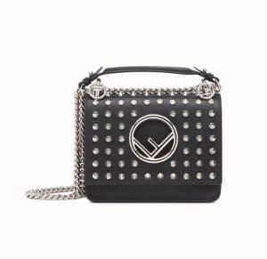 Fendi Black Studded Kan I F Small Bag