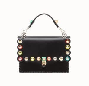 Fendi Black Studded and Scalloped Kan I Bag