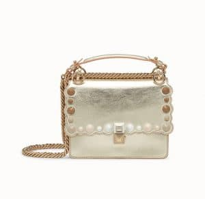 Fendi Gold Studded and Scalloped Kan I Small Bag