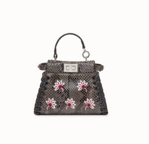 Fendi Gray Embroidered Floral Python Peekaboo Micro Bag