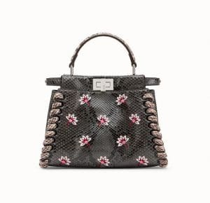 Fendi Gray Embroidered Floral Python Peekaboo Mini Bag