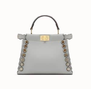 Fendi Gray Leather/Elaphe with Grommets Peekaboo Mini Bag