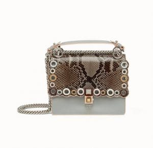 Fendi Gray Leather/Python Scalloped with Grommets Kan I Small Bag