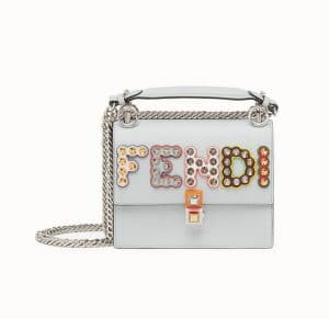Fendi Gray Studded Kan I Small Bag