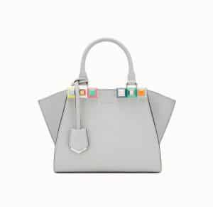 Fendi Gray Studded Mini 3Jours Bag