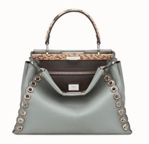 Fendi Green Leather/Elaphe with Grommets Peekaboo Bag