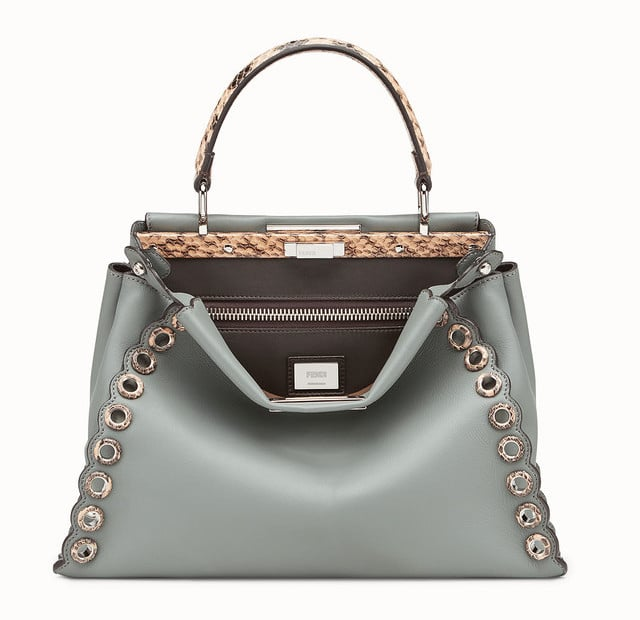 48349a05528d Fendi Green Leather Elaphe with Grommets Peekaboo Bag