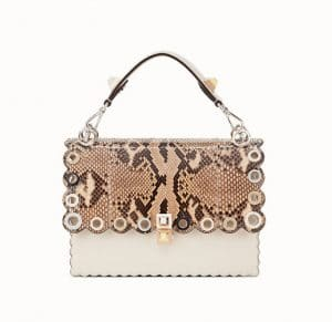 Fendi White Leather/Python Scalloped with Grommets Kan I Bag