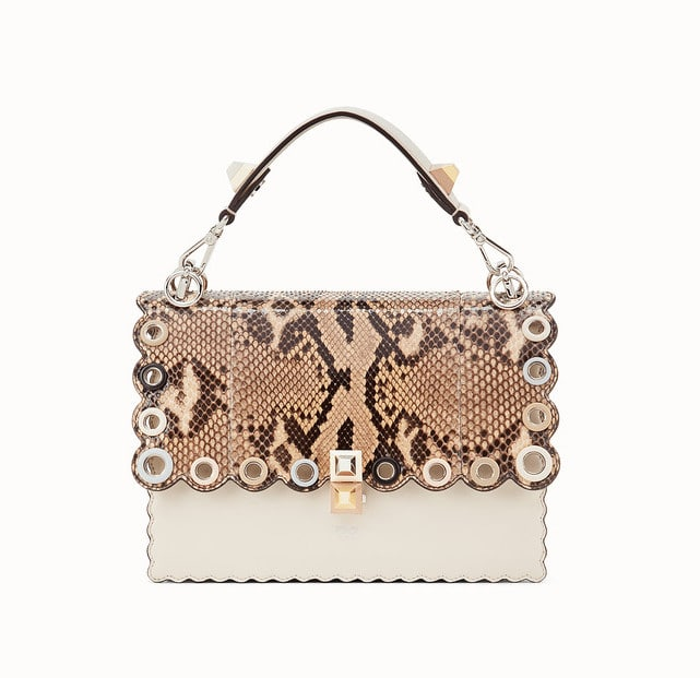 Fendi White Leather Python Scalloped with Grommets Kan I Bag 532589135d6bb