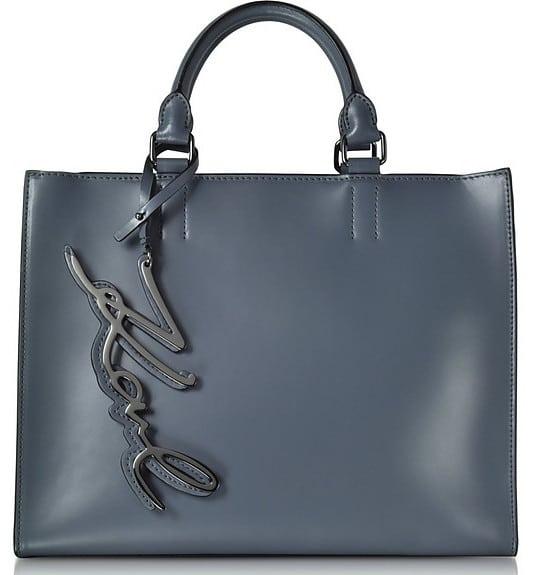 Karl Lagerfeld K/ Metal Signature Thunder Gray Leather Shopper Bag