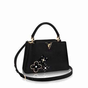 Louis Vuitton Noir Monogram Flower Embellished Capucines BB Bag