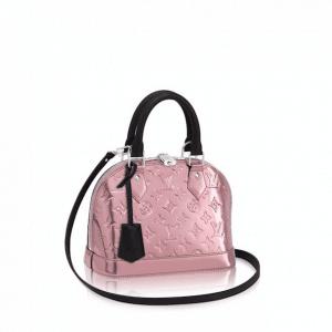Louis Vuitton Pink Metallic Monogram Vernis Alma BB Bag