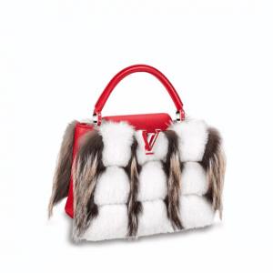 Louis Vuitton Red/White Taurillon:Fox Fur Capucines PM Bag
