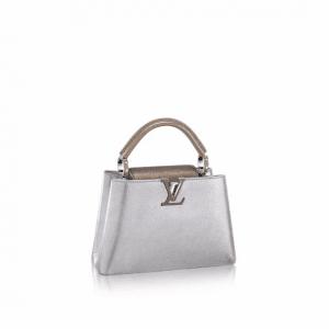 Louis Vuitton Silver Metallic Capucines BB Bag