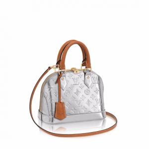 Louis Vuitton Silver Metallic Monogram Vernis Alma BB Bag