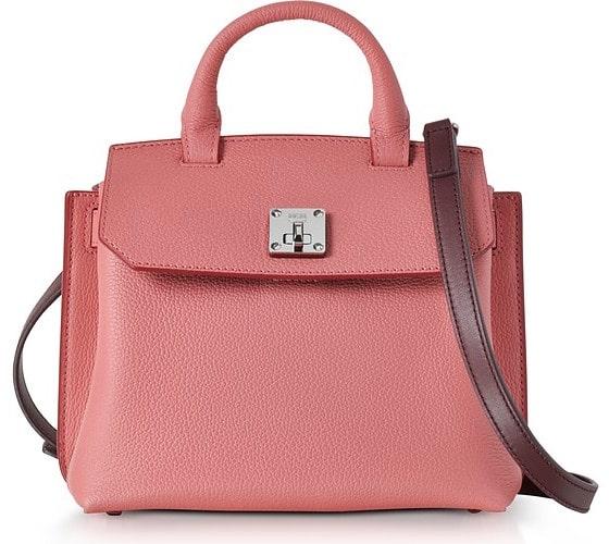 MCM Small Coral Blush Pebble Leather Milla Crossbody Bag