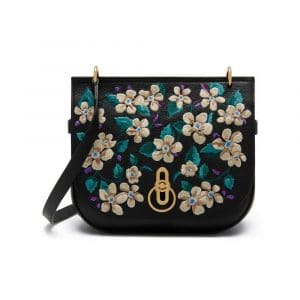 Mulberry Black Flower Embroidery Small Classic Grain Amberley Satchel Bag