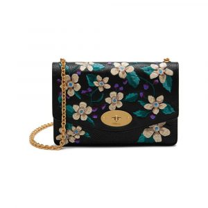 Mulberry Black Flower Embroidery Small Classic Grain Small Darley Bag