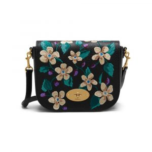 Mulberry Black Flower Embroidery Small Classic Grain Small Darley Satchel Bag